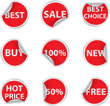Set of red discount sale stickers Illustration