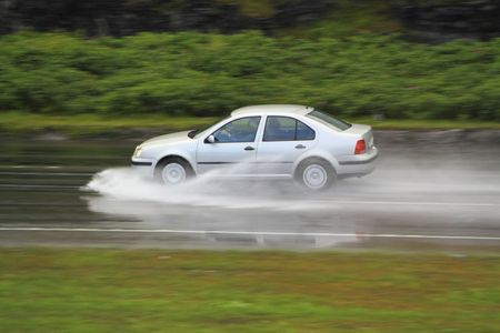driving in rainstorm on high speed