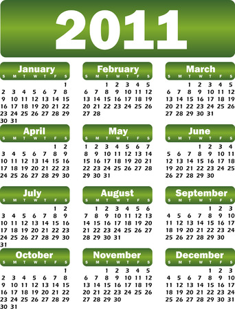 yearly: calendario para 2011 verde