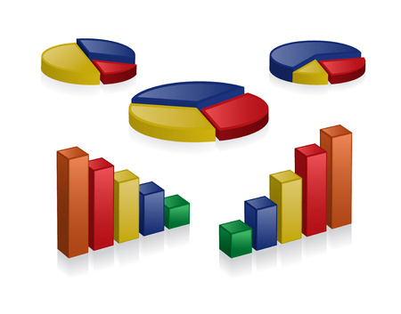 business 3D charts Illustration