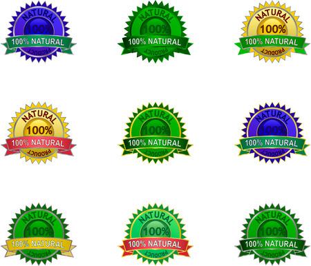 Natural 100 percent  product labels set Stock Vector - 8070751