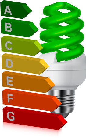 green bulb and energy classification Vector