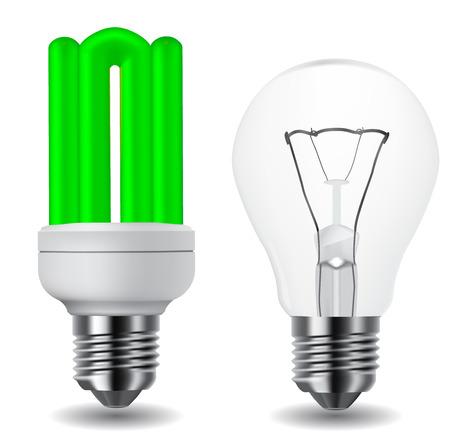 energy conservation: energy saving green lightbulb and classic lightbulb