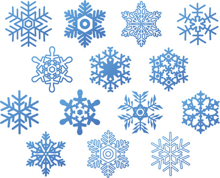 flakes: set of blue snowflakes Illustration