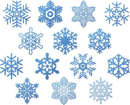 snow flakes: set van blauwe sneeuwvlokken