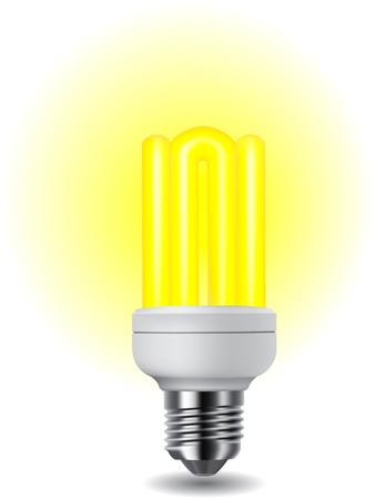 compact fluorescent lightbulb: Illustration of shiny energy saving compact fluorescent lightbulb