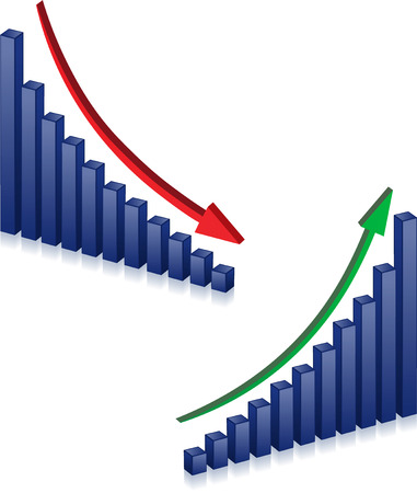graph down: Business failure and growth graph and arrows Illustration