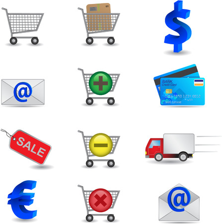 mail truck: Shopping Icons Set