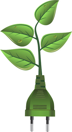 electricity supply: Green alternative energy, electricity plug and leaves