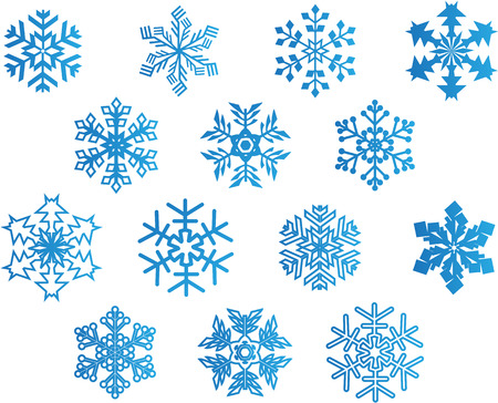 snow crystals: set of blue snowflakes Illustration