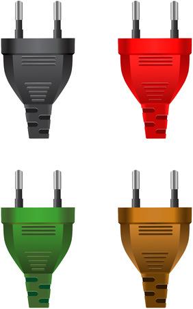 electric plug: Insieme vettoriale di spine elettriche classiche