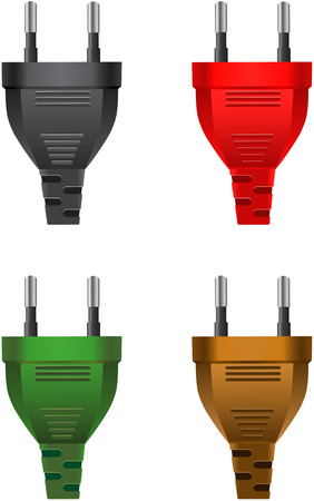 plug electric: Vector Set of classic electric plugs