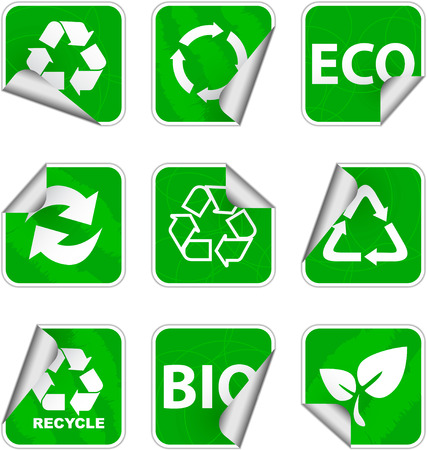 green environment and recycle icons set