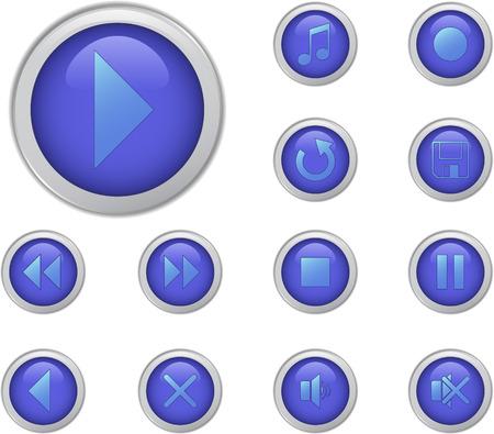 backwards: Blauwe media muziek knoppen set