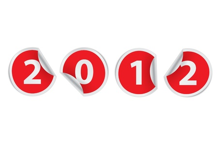 happy new year 2012 vector stickers
