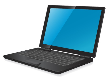 vector illustration of notebook laptop computer with blue desktop Illustration