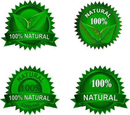 Natural 100 percentage  product labels set Vector
