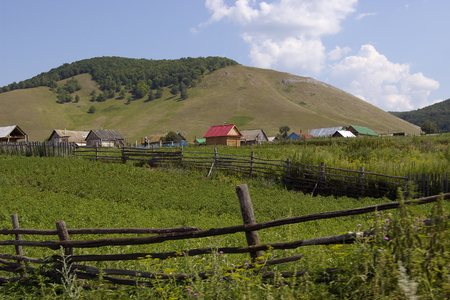 The village at the foot of the mountain (n. Nugush, Bashkiria).