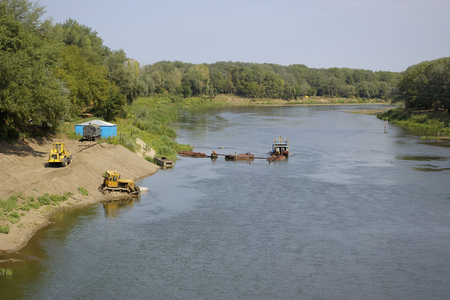 Construction of promenade and dredging on the Ural River in the Orenburg. Russia. 23.08.2008 Editorial