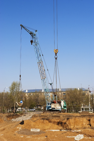 substructure: Building pit, Orenburg, Russia. 06.05.2009
