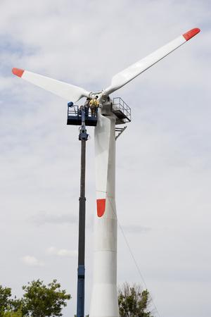 mounting: Mounting a wind turbine Stock Photo