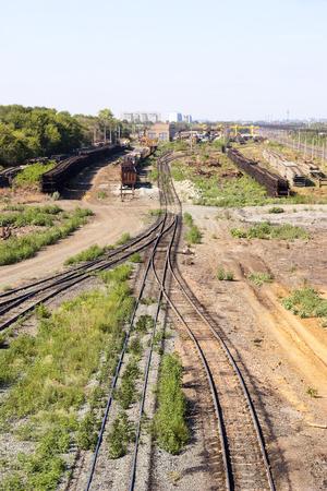 Railway station sidings Stock Photo