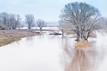Spring flooding. Steppe river Stock Photo