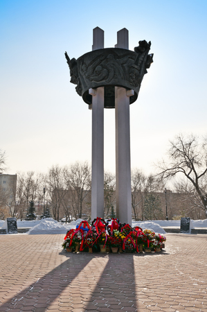 stele: Monument to the soldiers who died during the Great Patriotic War in the Park Salute, Victory! in the city of Orenburg. Russia. 23.02.2013 Stock Photo