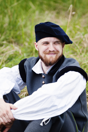 comb: Man in historical costume. Beltane. Annual role festival dedicated to the Celtic festival of love, spring and fertility. Venue: the neighborhood of the village comb, Orenburg, Russia. 05162015