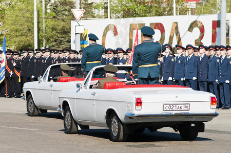 Parade in honor of Victory Day. Generals go round the parade