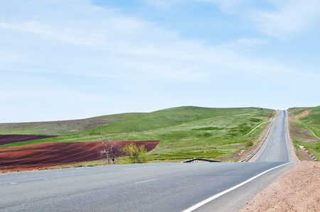 carriageway: Highway in hilly district Stock Photo