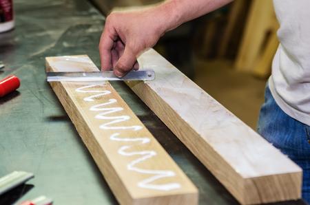 Joinery work. Preparing wooden surfaces for bonding Reklamní fotografie