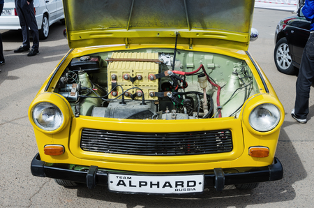 Outdoor hood tuned retro car  The picture was taken at the opening of the Russian Automotive and Tuning Championship AMT-Eurasia on May 6, 2017 in the city of Orenburg