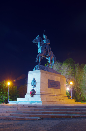 Monument to the Orenburg Cossacks  Photo taken in Russia, in the city of Orenburg, at night Stock Photo