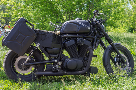 original bike: Black homemade motorcycle with the inscription on the gas tank