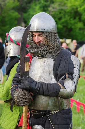 Heavy armored medieval warrior  Photo taken in Russia, in the city of Orenburg