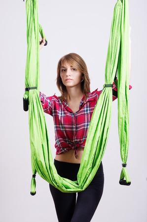 Girl near a hammock for yoga Stock Photo