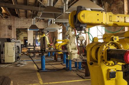 Línea de robots de soldadura / La imagen fue tomada en una empresa industrial en Rusia. 09/04/2017