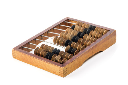 Oud houten telraam. Object geïsoleerd op een witte achtergrond Stockfoto