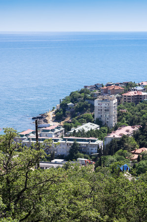 Resort city by the sea. Russia, Republic of Crimea. 06122018: Foros urban-type settlement. View from the South Coast Highway