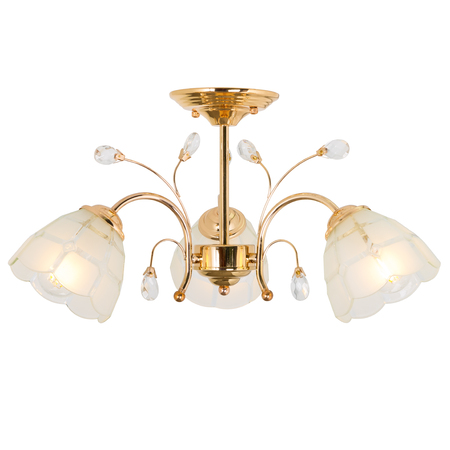 Three-lamp chandelier of yellow metal. Isolated object on white background