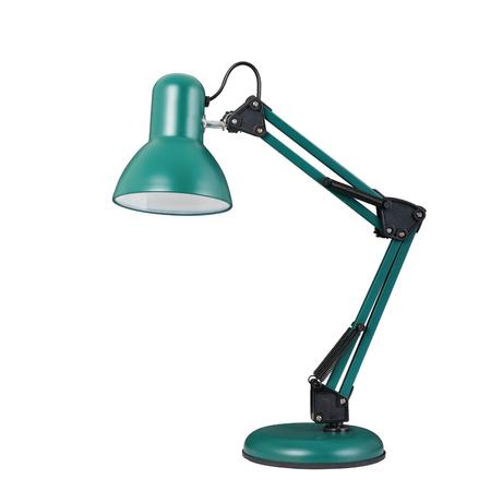 Turquoise tafellamp in klassieke stijl. Geïsoleerd object op witte achtergrond Stockfoto