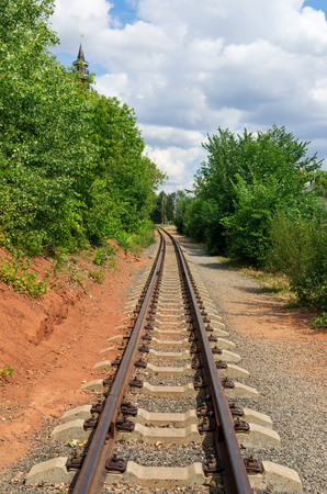 Single-track narrow gauge railway. 07.12.2018. Russia, the city of Orenburg. Children's railway Foto de archivo