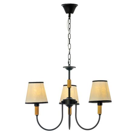 Kronleuchter mit drei Lampenschirmen. Inklusive Deckenleuchte, isoliert auf weißem Hintergrund Standard-Bild