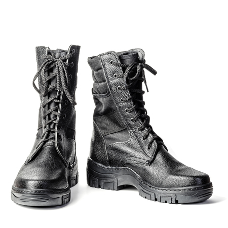 Black high boots. Army laced boots. Isolated on white background