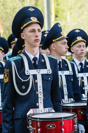 Drummers Cadet Corps in the parade. Orenburg, Russia - May 9, 2019: Victory Parade on Lenin Square