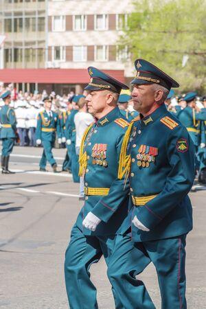 Senior officers in parade uniform. Orenburg, Russia - May 9, 2019: Victory Parade on Lenin Square Sajtókép