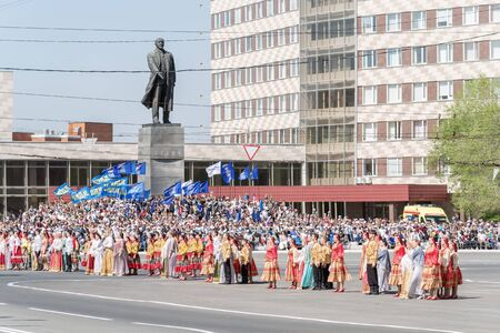 Theatrical performance at the festive event, near the monument to Lenin. Orenburg, Russia - May 9, 2019: Victory Parade on Lenin Square
