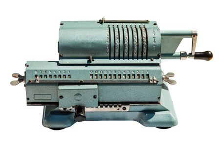 Old adding machine. Mechanical calculating machine isolated on white background