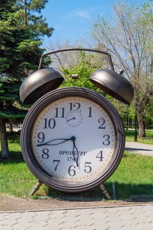 Orenburg, Russia - May, 25, 2019: Clock with the date of the founding of the city. Art object at the intersection of Postnikov and Zwilling